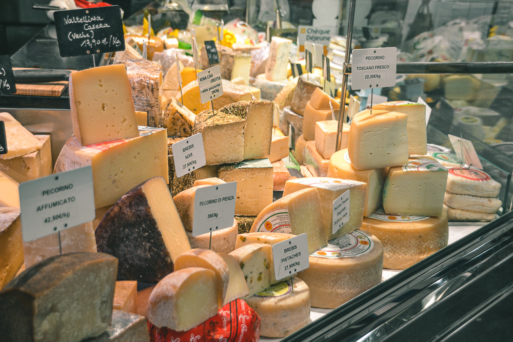 Variety of cheeses at the Marché des Capucins