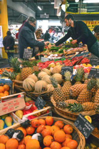 Fruit and vegetable stall at the Marché des Capucins